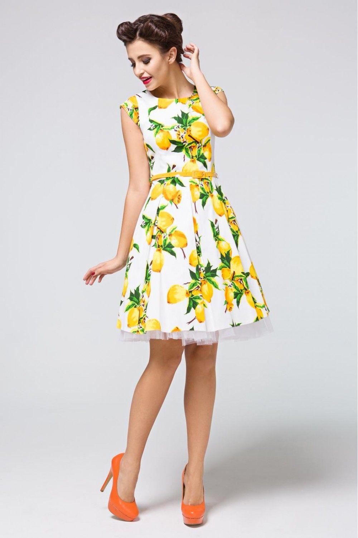 02d6ce14cc Sukienka rozkloszowana z paskiem wzór cytrynowy