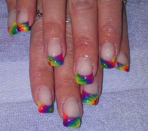 Day 201: Tie Dye French Nail Art - Day 201: Tie Dye French Nail Art French Nail Art, French Nails