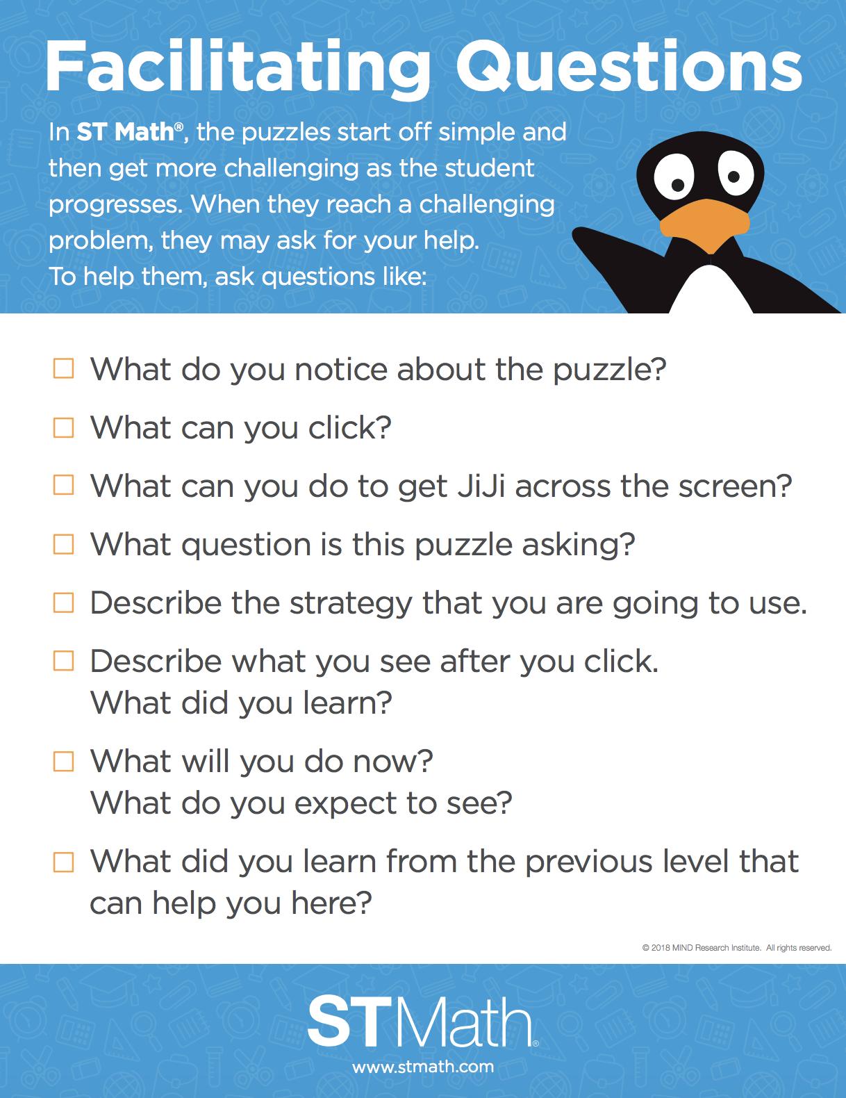 Facilitating Questions Poster St Math Parent Resources Math