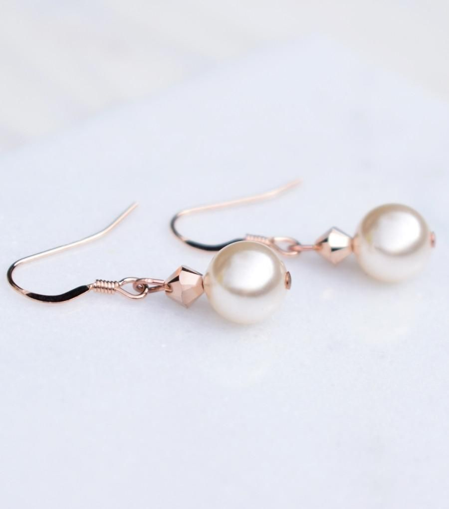 6eed5e254d8ca2 Rose Gold Pearl Drop Earrings – Katherine Swaine #rosegold #bridal  #jewellery #gifts