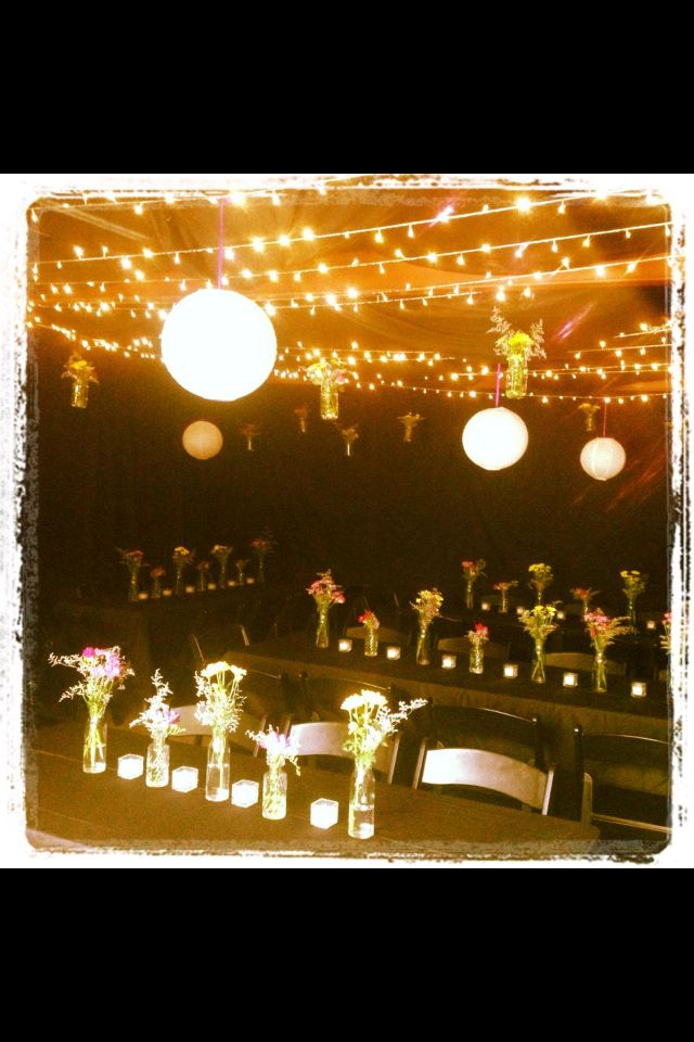 A Carport Transformed Into An Intimate 18th Birthday Party Setting With Fairy Lights And Lanterns Birthday Party Set 18th Birthday 18th Birthday Party