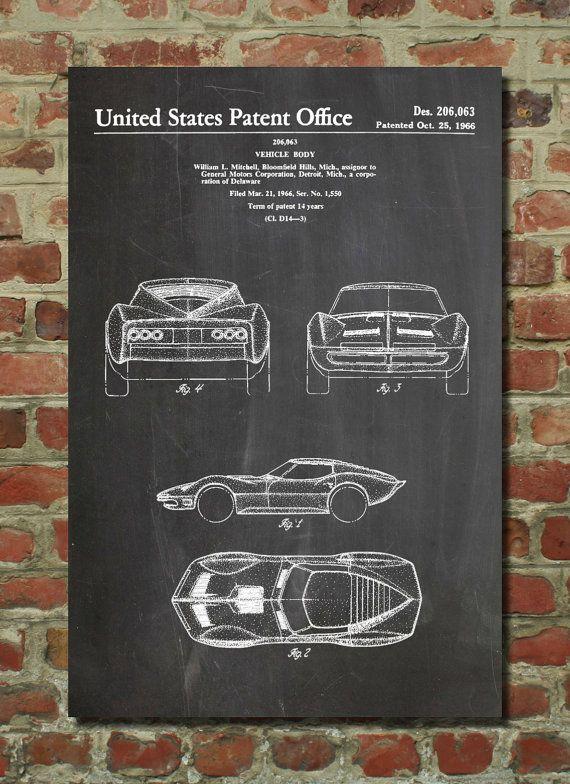 1966 Corvette Mako Shark II Patent Poster, Car Canvas, Corvette ...