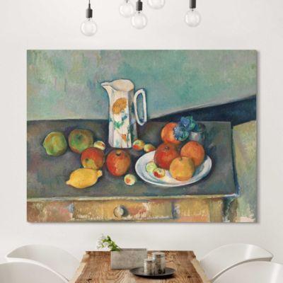 leinwandbild paul c zanne kunstdruck stillleben mit milchkrug und fr chten auf einem tisch. Black Bedroom Furniture Sets. Home Design Ideas