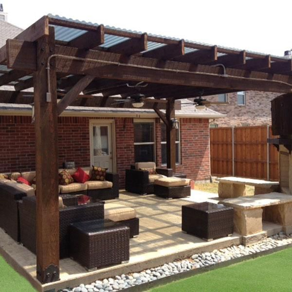 Our 4 Favorite Patio Pergola And Deck Lighting Design Tips: A Patio Pergola Made From The Post Base Kit And Timber