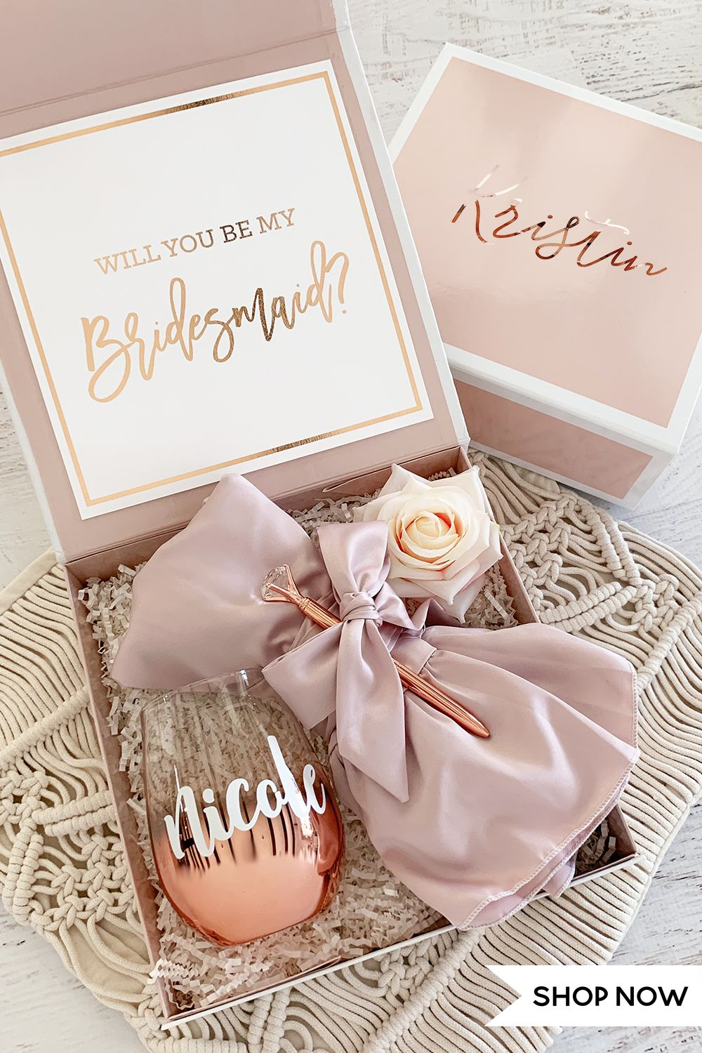 Pink Bridesmaid Gift Boxes In 2020 Gifts For Wedding Party Bridesmaid Gift Boxes Bridesmaid Proposal Box