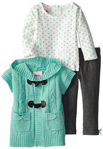 1d1d70e5c Little Lass Baby-Girls Infant 3 Piece Toggle Lurex Sweater Set, Mint, 12
