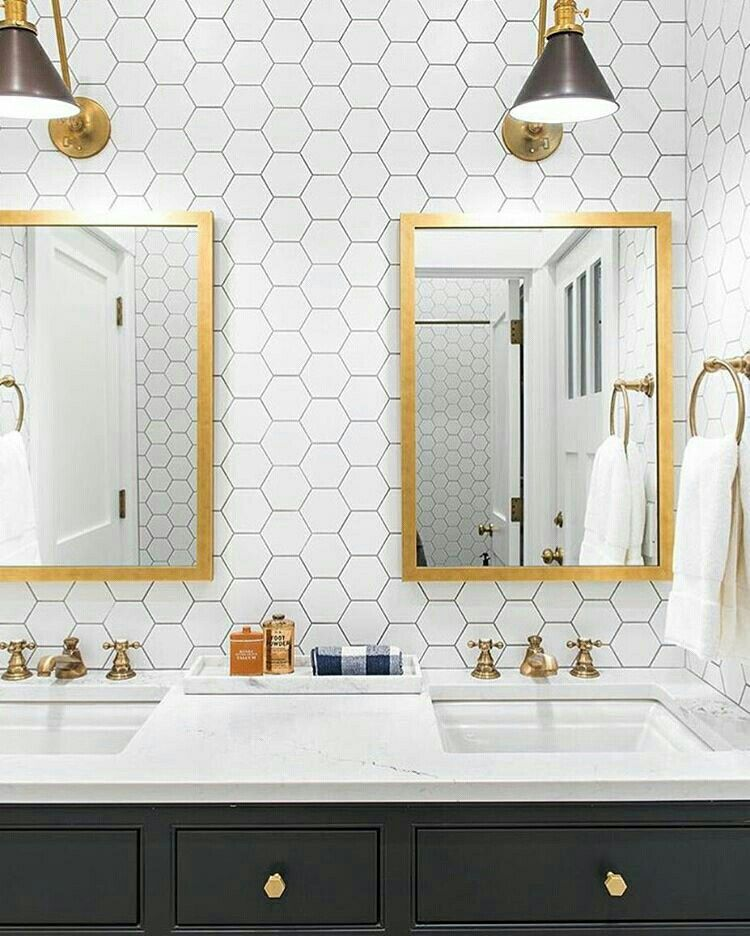 White Hex Tiles Gold Faucet Gold Mirror Black Vanity Bathroom