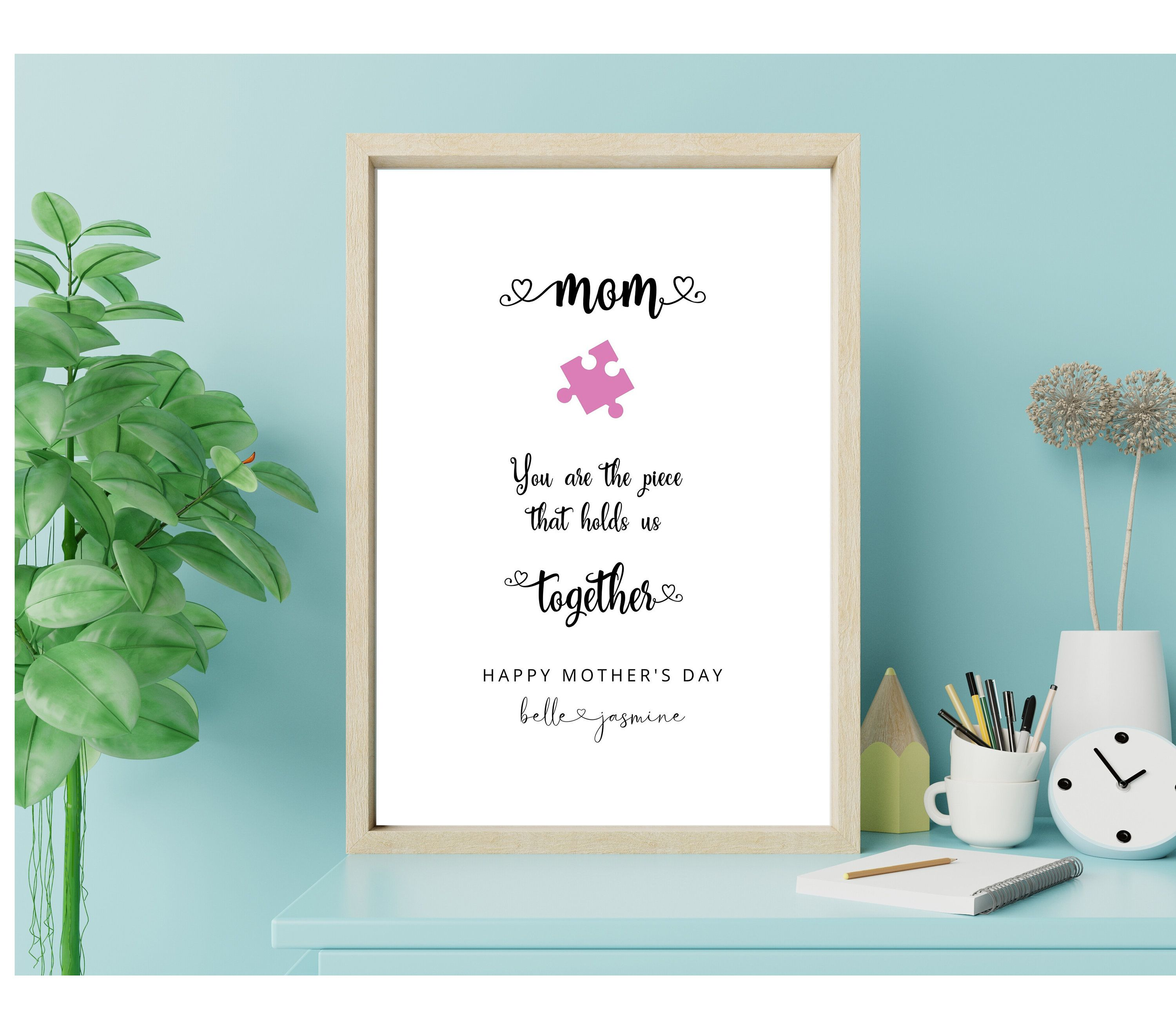 Personalized Wall Art Mom Gift From Daughter Custom Etsy Personalized Wall Art Mom Art Gifts For Mom
