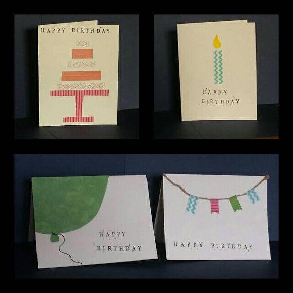 Set Of 4 Handmade Minimalist Variety Birthday Cards Httpsetsy