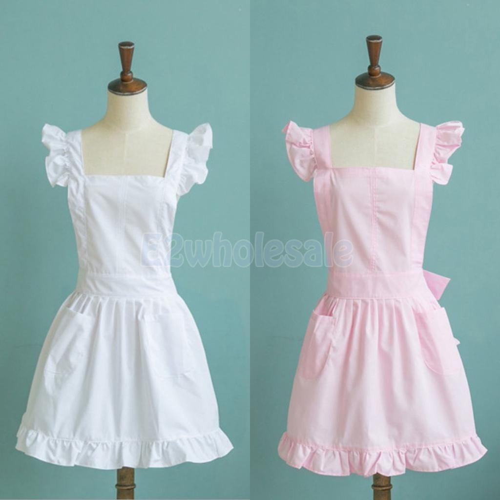 White apron fancy dress - Girls Victorian Maid Apron Fancy Dress Pinafore Pinny Smock Costume Pink White