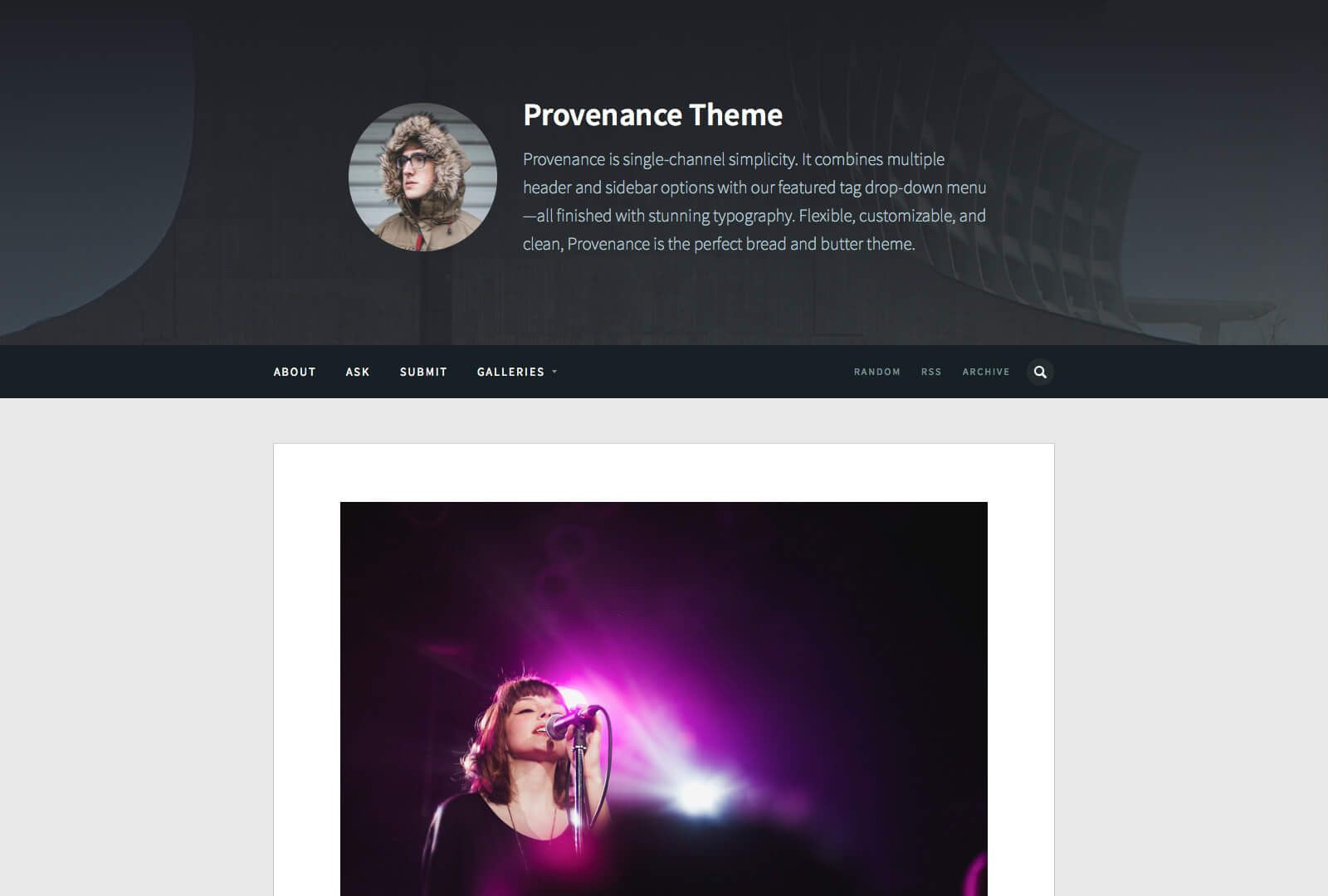 Provenance (Single Post) - Tumblr Theme by Pixel Union | TUMBLR ...