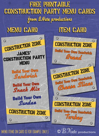 free printable construction party menu cards and build your own