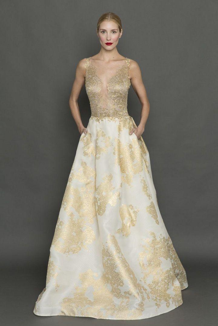 Francesca Miranda gold plunging neckline wedding dress| itakeyou.co.uk #weddingdress #weddingdresses #goldweddingdress #bride #bridalgown #weddinggown #weddinggowns
