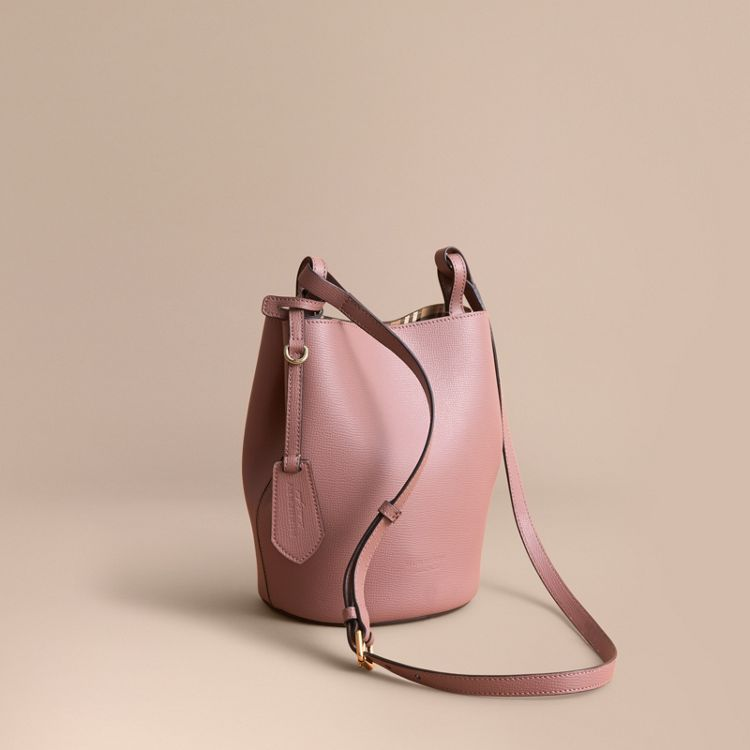 c666e8f0cecb Leather and Haymarket Check Crossbody Bucket Bag