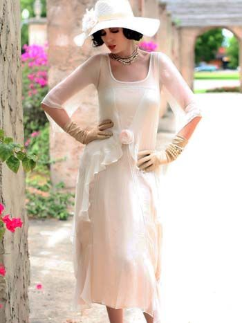 Ivory Chiffon 20s Inspired Gatsby Garden Party Dress Garden Party Dress Informal Wedding Dresses Best Party Dresses