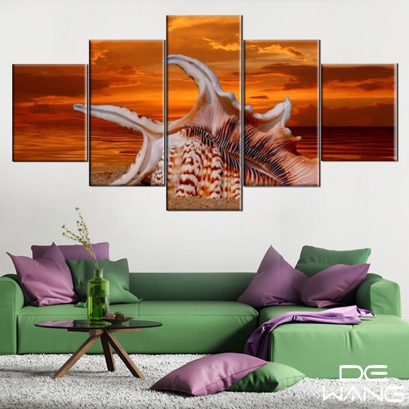 5 piece canvas art abstract beach conch canvas oil paintings wall picture living room wall art