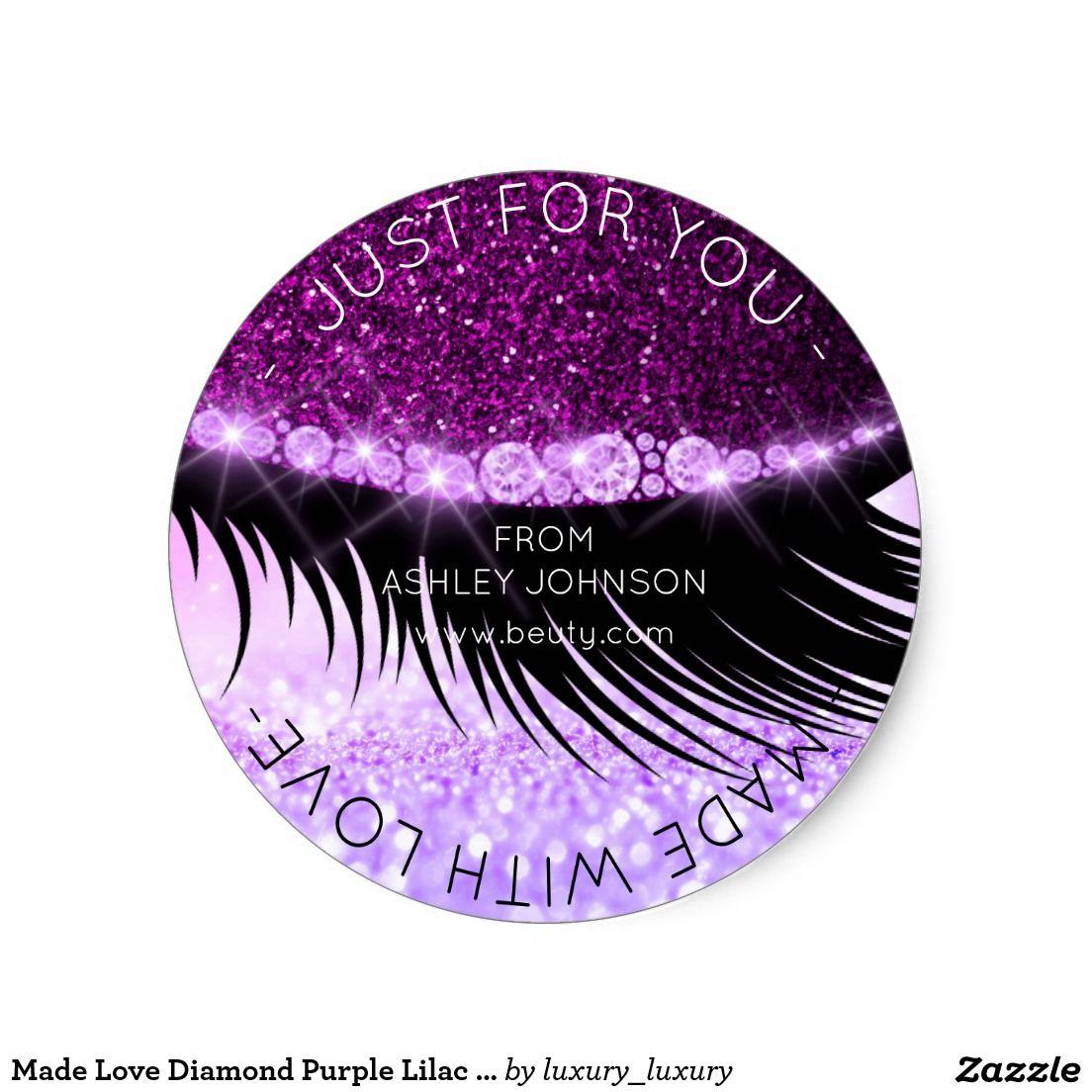 Made Love Diamond Purple Lilac Vip Sparkly Glitter Round Sticker