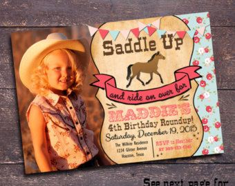 Girls Horse Birthday Party Invitation  Printable Horse
