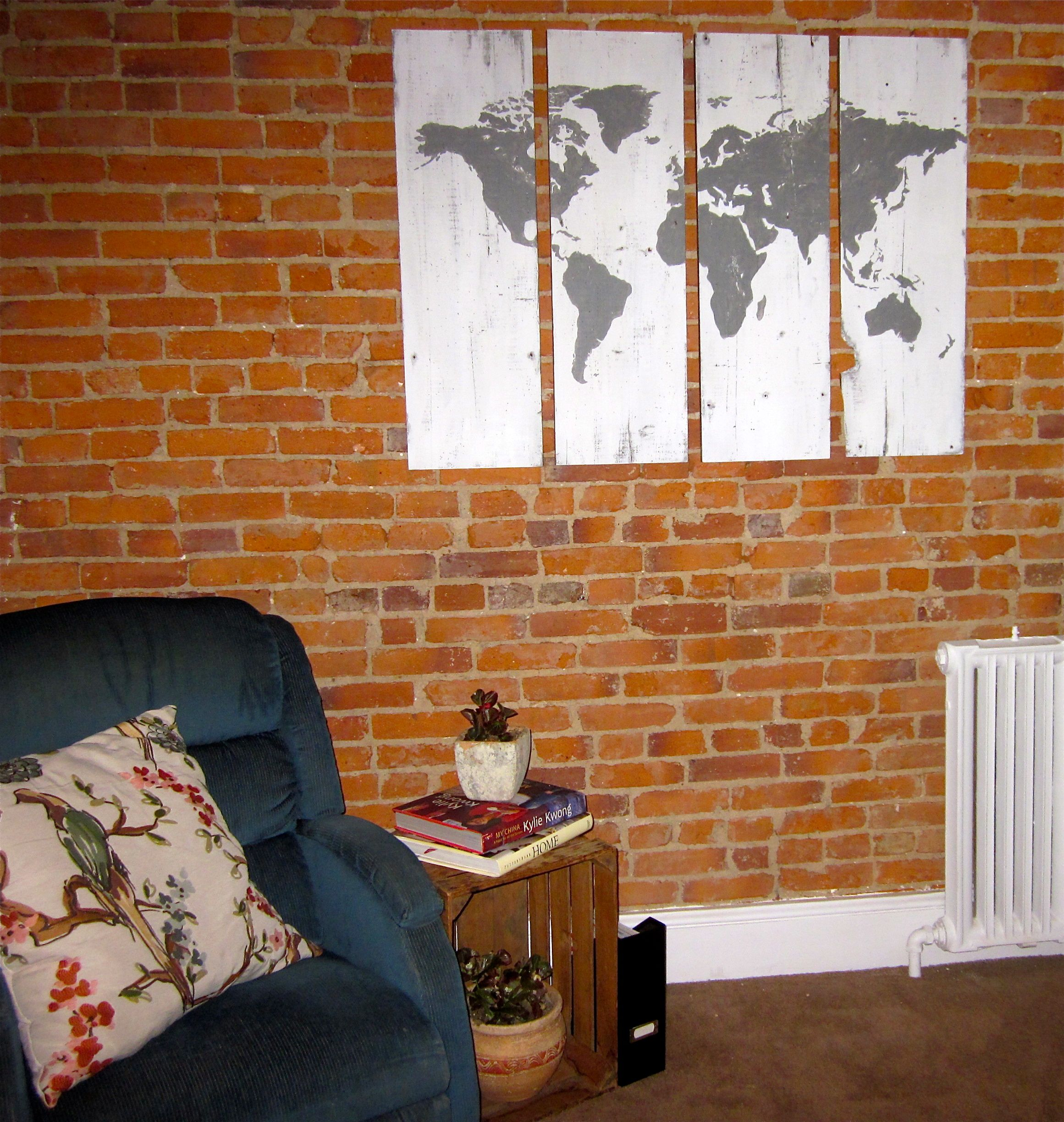 Hand-painted World Map https://www.etsy.com/listing/157795371/world-map-handpainted-wood-sign