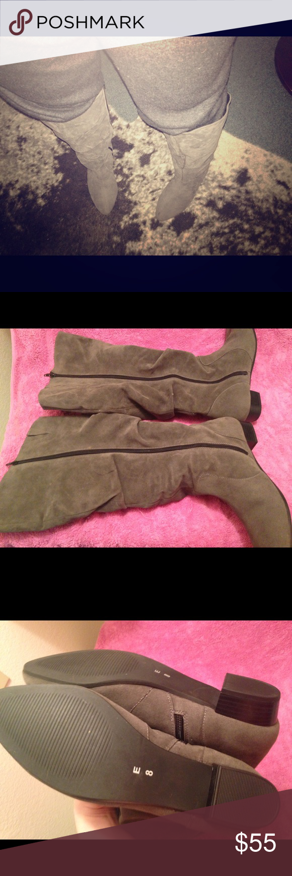 Simply be extra wide calf boots grey suede 10 I had these imported from simply be in England they are very wide calf I've never worn as they are too wide for me. Stamped sz 8 on bottom but inside says U.S. sz 10. I'm a us 10 and they are true to size. They are vegan faux suede in a mid grey.  Brand is legroom and it's their high leg boot wide foot super e curvy calf model. E curvy is for 19 3/4 width calves. Elastic insets at tops for comfort, full zipper for easy putting on. They have a…