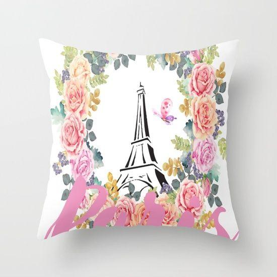 Paris Wreath Throw Pillow