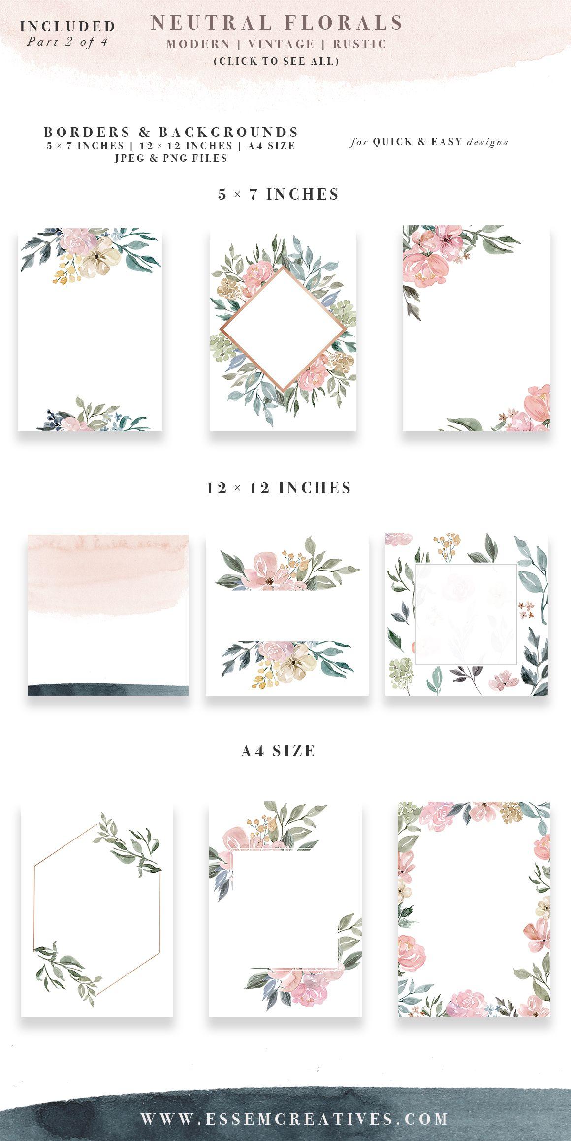 Neutral watercolor flowers clipart floral borders  frames background rustic vintage border clip art also for rh pinterest