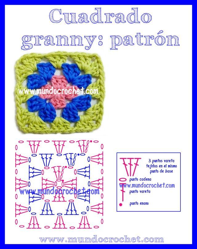 Para principiantes. Cómo tejer un cuadrado granny a Crochet ...