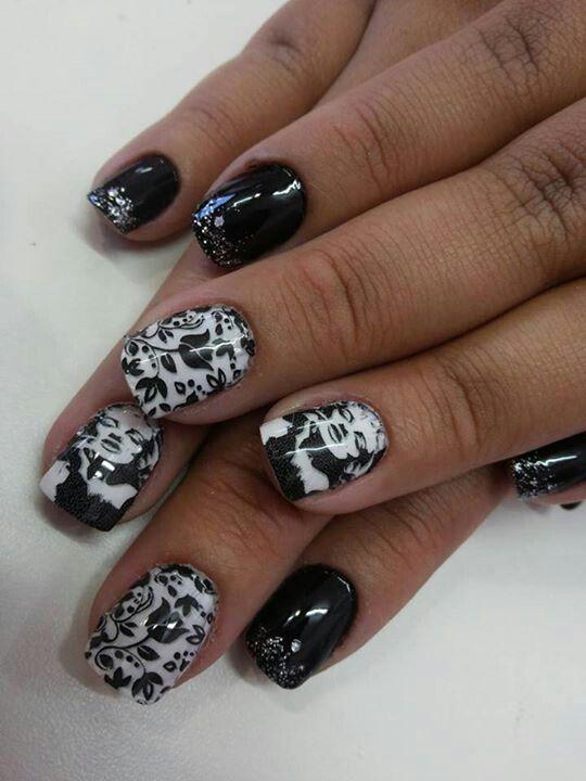 Black - White - Marilyn Monroe - Nail design   Naild   Pinterest ...