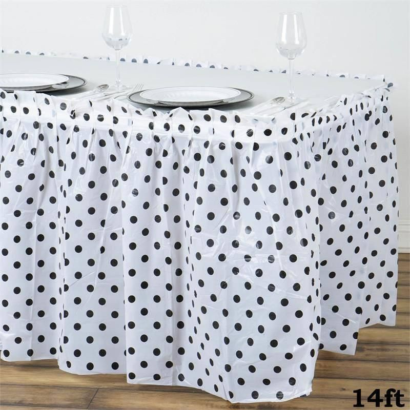 14ft 10 Mil Thick Polka Dots Pleated Plastic Table Skirts Disposable Table Skirt Spill Proof White Black Plastic Tables Table Skirt Table Covers