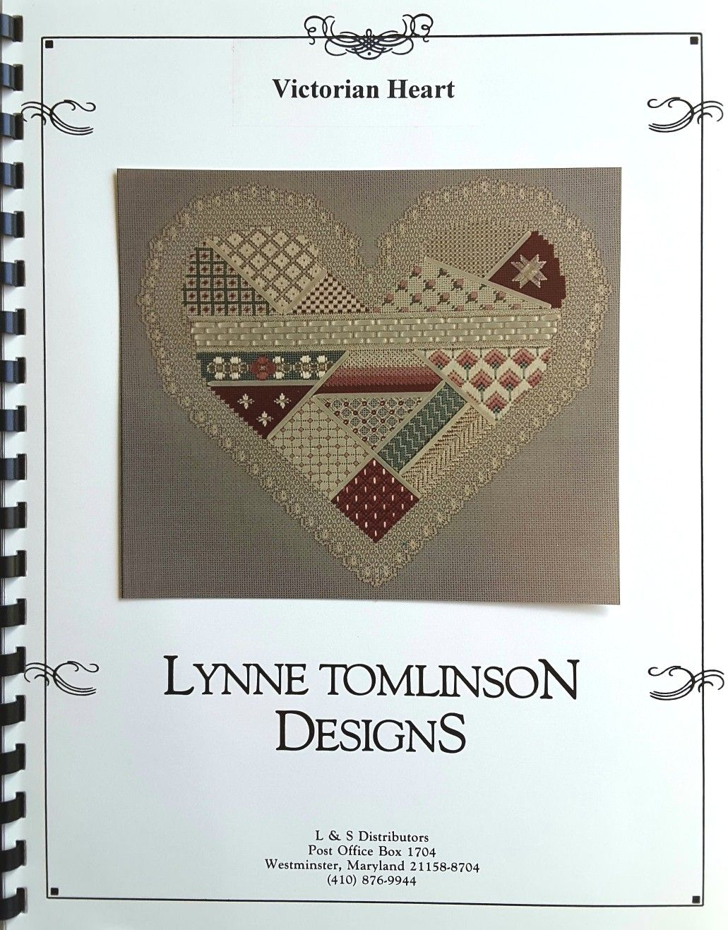 Victorian heart with floss by lynne tomlinson needlework