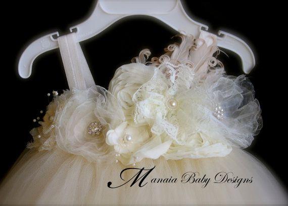Vestido Vintage de marfil / marfil florista por ManaiaBabyDesigns