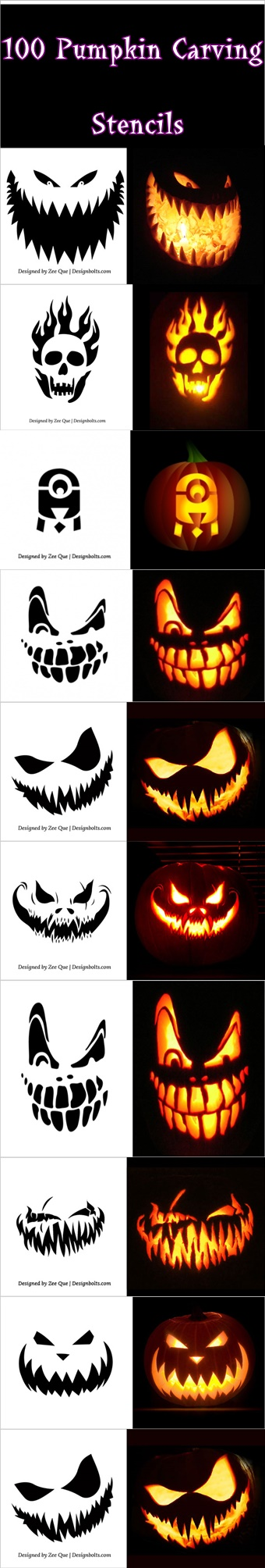 100 Pumpkin Carving Stencils, pumpkin carving stencils, pumpkin ...