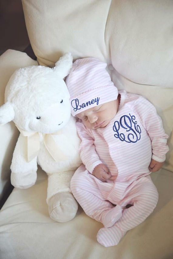 Baby girl coming home outfit, Monogrammed footie, Personalized Baby ...