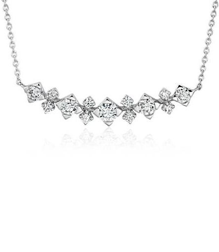 503243f1108ec This delicate curved diamond bar necklace features round diamonds set in  classic 14k white gold. This stunning necklace goes from laid-back to  luxury with ...