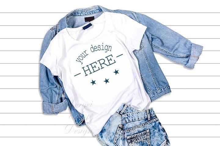 Download White T Shirt Mockup Template T Shirt On A Jeans Jacket 168833 Mockups Design Bundles Shirt Mockup Tshirt Mockup Clothing Mockup