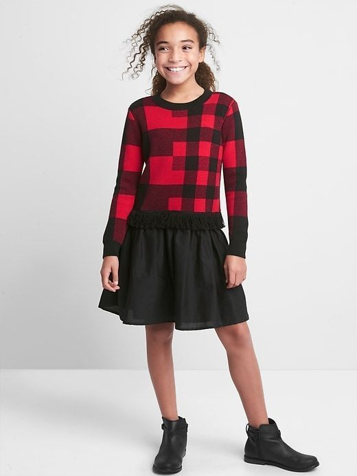 3c9d41c8f9b Girl s Buffalo plaid mix-fabric dress  girlsfashion