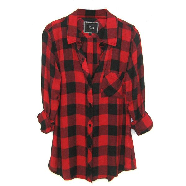5512e79241b150 Rails Hunter Plaid Shirt in Black Red Check found on Polyvore