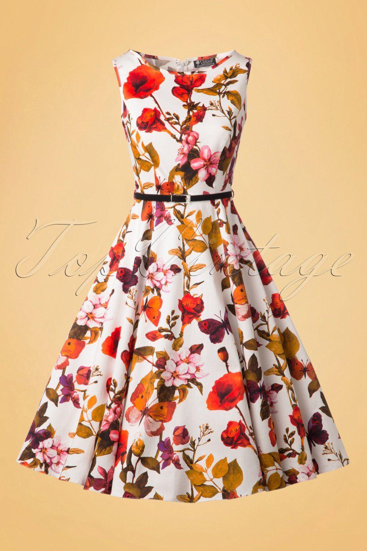 50s hepburn butterfly floral swing dress in ivory | flowery