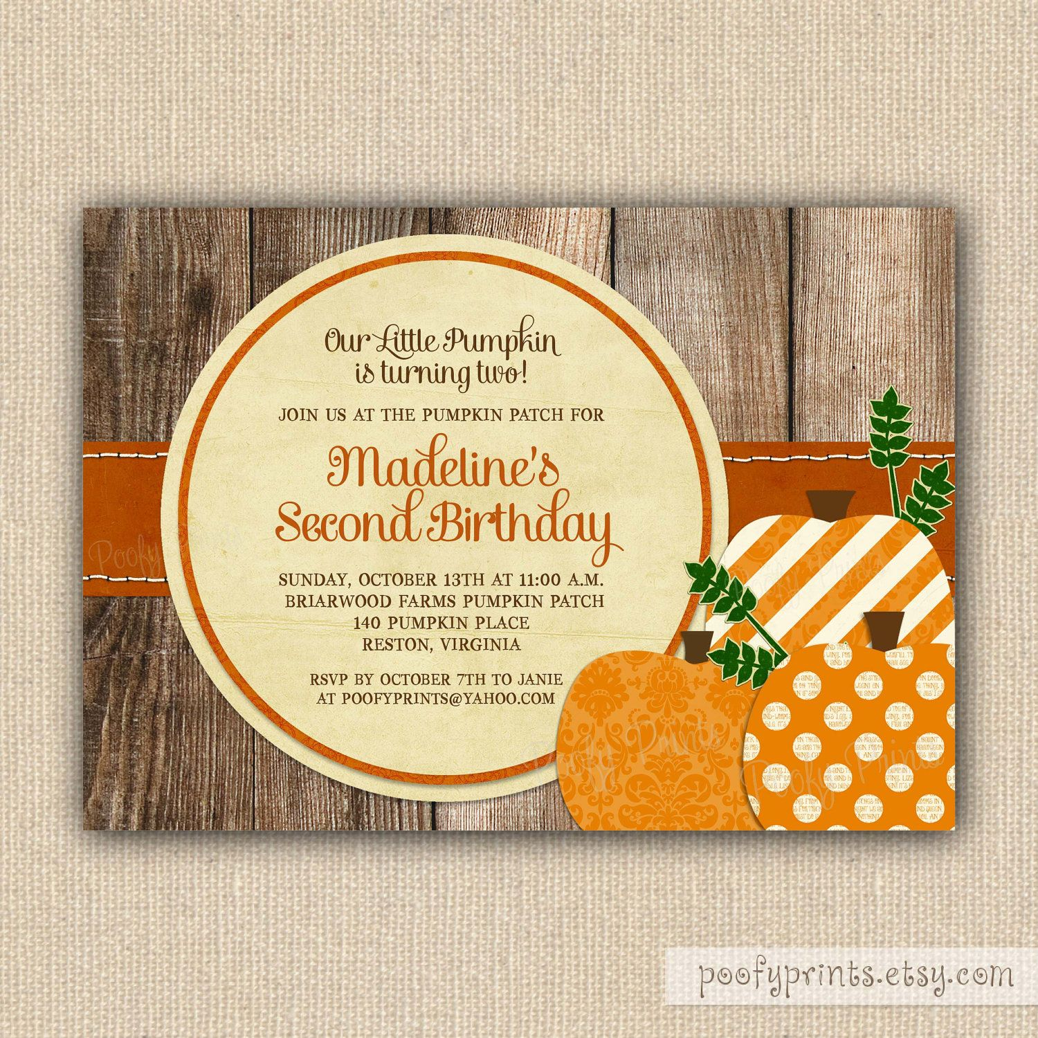 Pumpkin Patch Birthday Party Invitations Printable by PoofyPrints ...