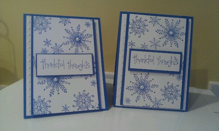Stampin up thank you card.  Serene snowflakes and thoroughly thankful.