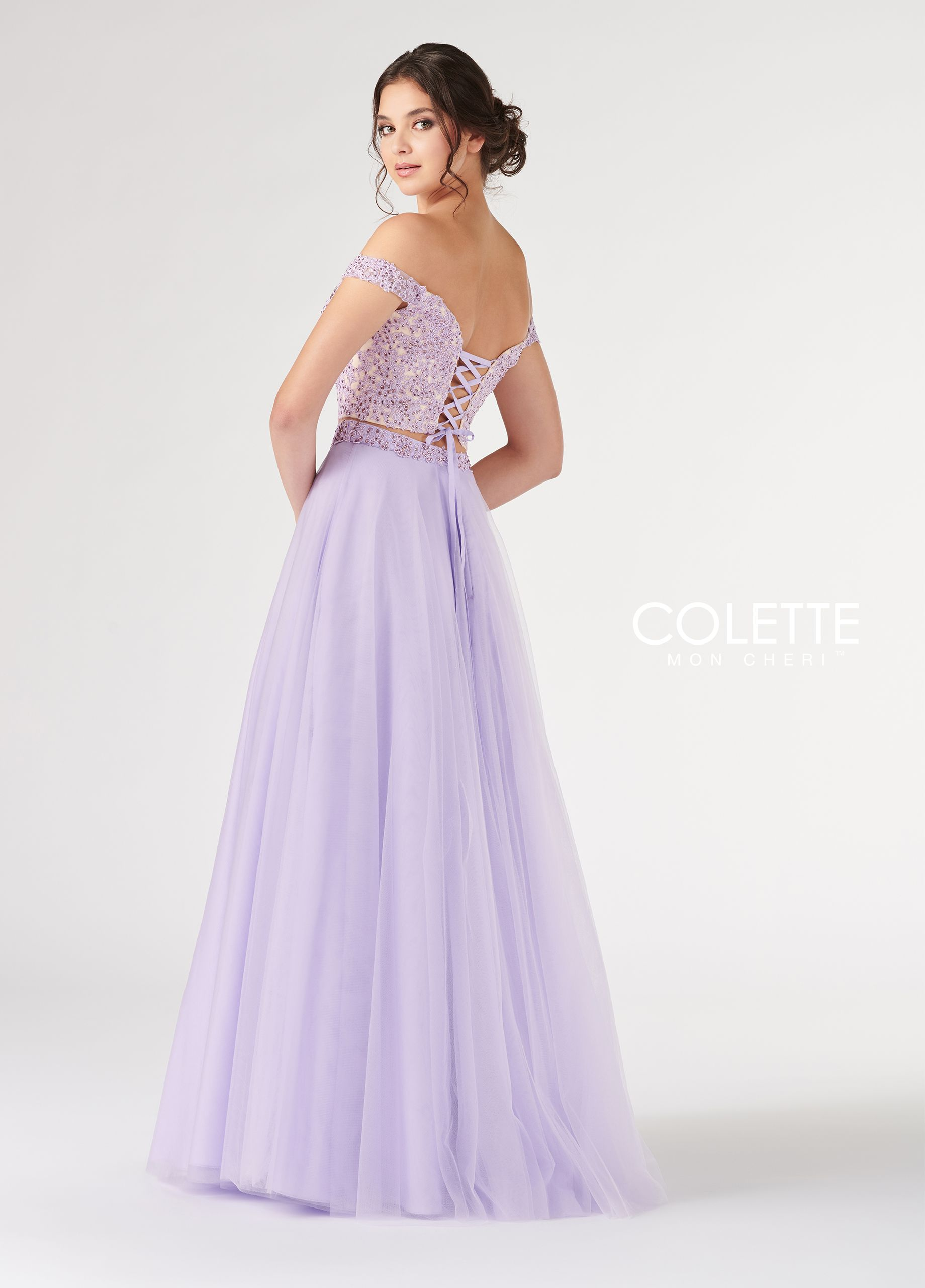 f07119ec557d Colette for Mon Cheri CL19885 - Two piece ballgown dress set with lace and  beaded off