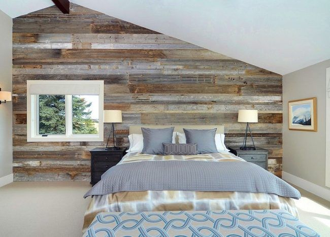 25 Awesome Bedrooms With Reclaimed Wood Walls Bedroom Wall Designs Contemporary Bedroom Accent Wall Bedroom
