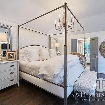 metal canopy bed with curved headboard transitional bedroom