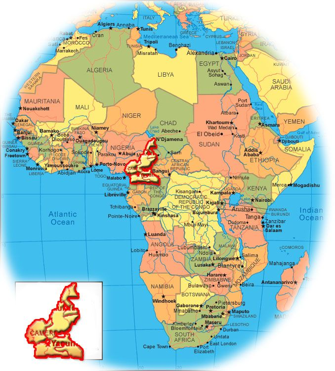 africa map showing cameroon