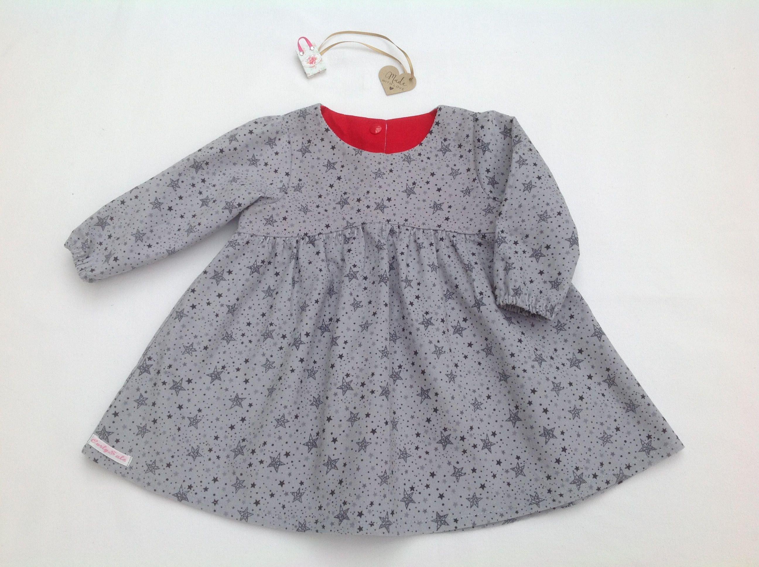 Long sleeve Dress Baby dress girls grey dress stars baby cord