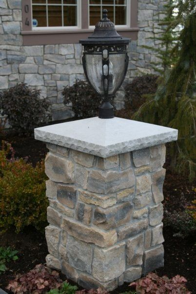 Driveway Pillar Lights : Stone pillar light exterior environments