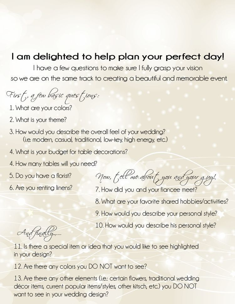 Wedding Planning Event Planning Questionnaire Consultation