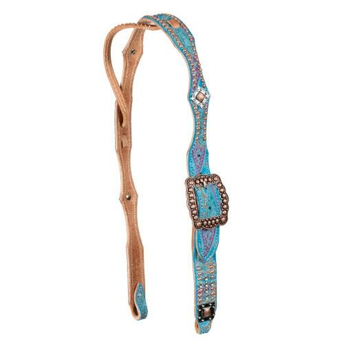 Blue paisley belt style headstall