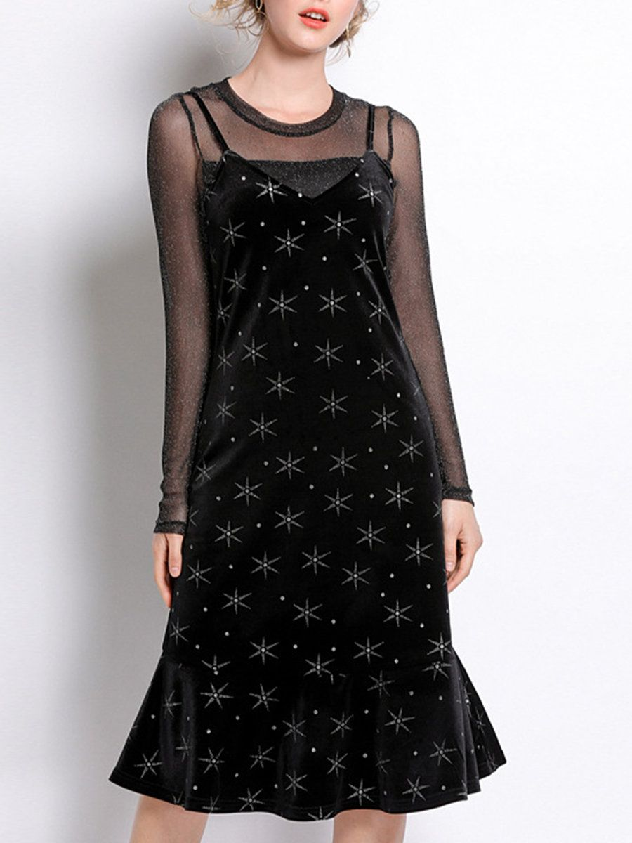 38200c24eeac Stylewe Black Crew Neck Shimmer Casual Dress With Top Two-Piece Set ...