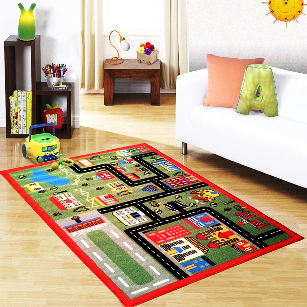 Green Town Children Colorful Non Slip Floor Play Mats S Boys Kids Fun Rugs